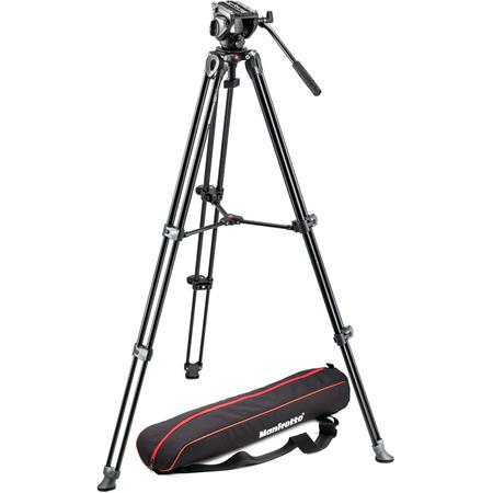 Manfrotto MVKAM Professional Fluid Video System Twin Legs Middle Spreader lbs Load Capacity MaHeight 66 - 263