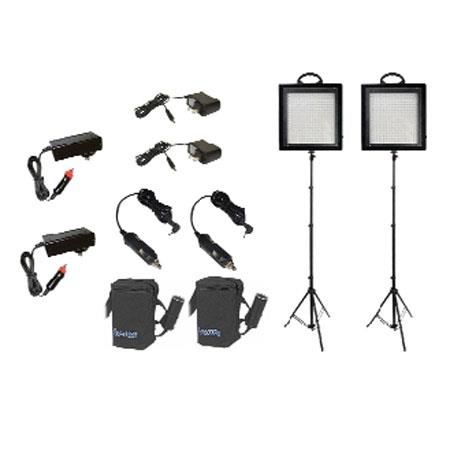 Bescor LED KB Twin W LED Dimmable Studio Light Lead Acid Battery Kit Watt Combined 104 - 227