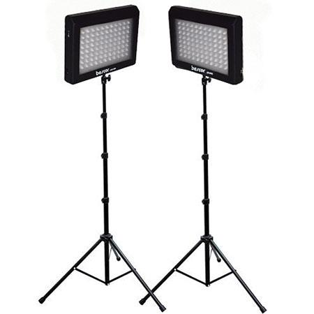 Bescor LED DK LED Video Light Kit Two LED Light Panels Two s Floor Stands and Two AC Adaptors 283 - 81