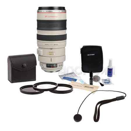 Canon EF f L USM AF Image Stabilized Lens Kit USA Tiffen Photo Essentials Filter Kit Lens Cap Leash  123 - 756