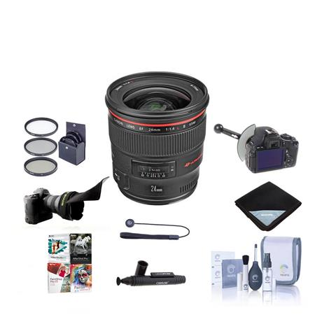 Canon EF fL USM AutoFocus Wide Angle Lens Kit USA Bundle MM Dig Essentials Filter Kit New Leaf Year  88 - 539