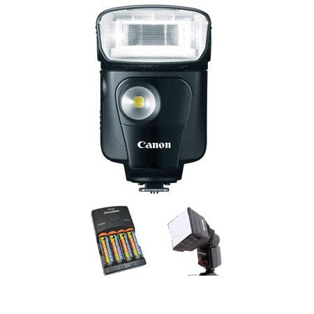 Canon Speedlite EX Flash USA Warranty Basic Outfit NiMH Batteries Charger Mini Soft BoDiffuser 235 - 360