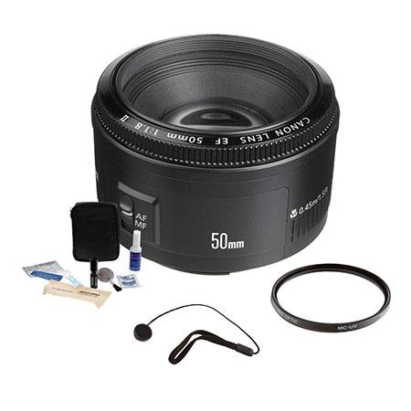 Canon EF f Standard AutoFocus Lens Kit USA Tiffen UV Filter Lens Cap Leash Professional Lens Cleanin 213 - 157