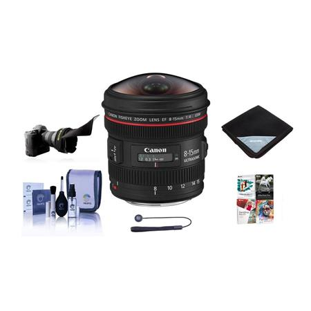 Canon EF fL USM Wide Fisheye Zoom Lens Diagonal Angle of View Canon USA Warranty Bundle FleLens Shad 187 - 457