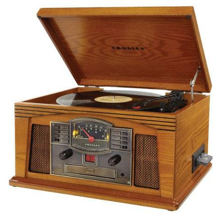 Crosley Radio CRC OA Lancaster Musician Entertainment Center Turntable AMFM Radio CD Player Oak 413 - 497