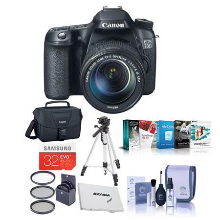 Canon EOS D Digital SLR Camera EF S F IS STM Lens BUNDLE GB SDHC Card Camera Case Aluminum Table Top 295 - 253
