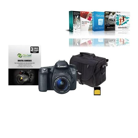 Canon EOS D Digital SLR Camera EF S F IS STM Lens BUNDLE GB SDHC Card Camera Case New Leaf Year Exte 45 - 738