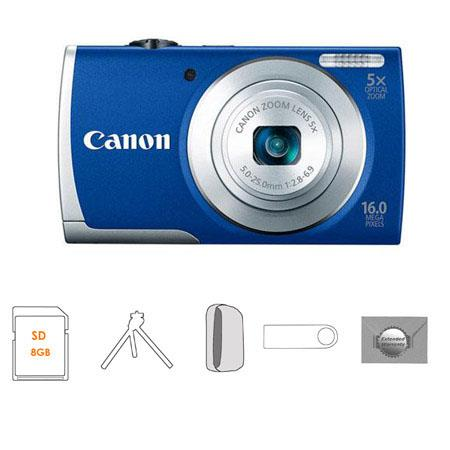 Canon PowerShot A Digital Camera Blue Bundle GB SDHC Memory Card Camera Case FleTable Top Tripod New 19 - 214