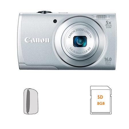 Canon PowerShot A Digital Camera Silver Bundle GB SDHC Memory Card Camera Case 36 - 547