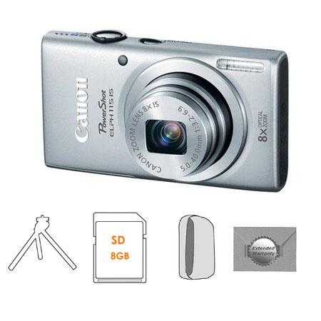 Canon PowerShot ELPH IS Digital Camera Silver Bundle Camera Case GB SDHC Memory Card FleTable Top Tr 102 - 506