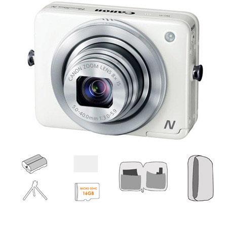 Canon PowerShot N Digital Camera Megapixel Bundle Lowepro Camera Pouch GB Micro SDHC Card Spare batt 100 - 487