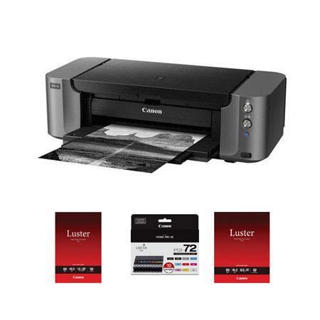 Canon PIXMA PRO Professional Photo Inkjet Printer Bundle Canon PGI Color Pack CanonPhoto Paper Pro L 137 - 371