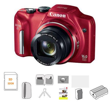 Canon PowerShot SX IS Digital Camera RED MPOptical Zoom Bundle GB Ultra SDHC Memory Card Lowepro Dub 140 - 692