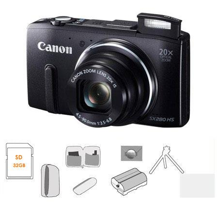 Canon PowerShot SX HS Digital Camera BUNDLE GB SDHC Card Camera Pouch Mack Year Extended Warranty Sp 7 - 358