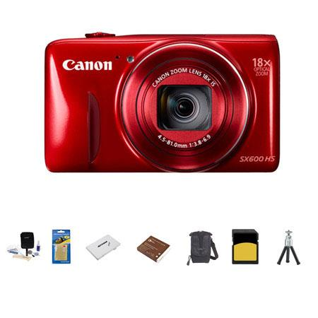 Canon PowerShot SX HS Digital Camera MP RED Bundle LowePro Rezo Case GB Class SDHC Memory Card Spare 142 - 237