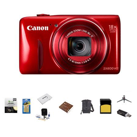 Canon PowerShot SX HS Digital Camera MP RED Bundle LowePro Rezo Case GB Class SDHC Memory Card Spare 137 - 55