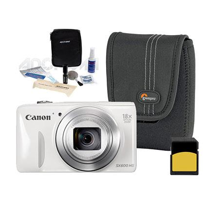 Canon PowerShot SX HS Digital Camera MP WHITE Bundle LowePro Case GB SDHC Memory Card Digital Cleani 208 - 162