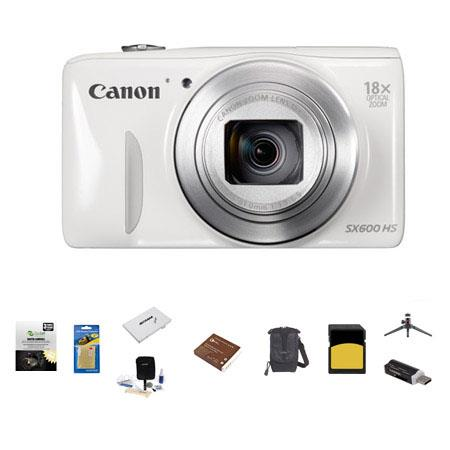 Canon PowerShot SX HS Digital Camera MP WHITE Bundle LowePro Rezo Case GB Class SDHC Memory Card Spa 104 - 518