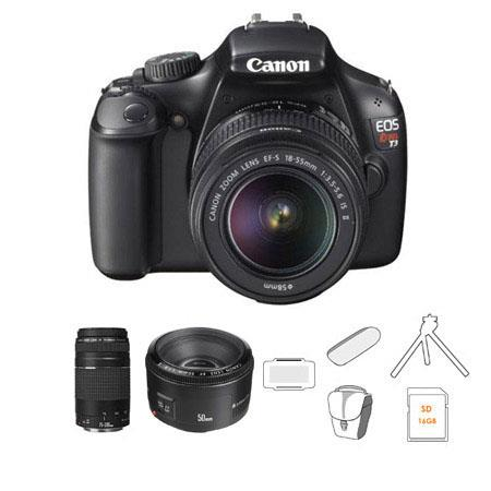 Canon EOS Rebel DSLR Camera Lens Kit EF S f IS Lens EF F III Lens and EF f Lens Bundle Camera Bag GB 55 - 491