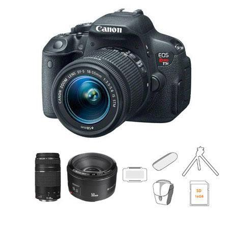 Canon EOS Rebel Ti DSLR Camera Lens Kit EF S f IS STM Lens EF F III Lens and EF f Lens Bundle Camera 210 - 49