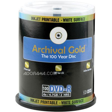 Delkin DVD R Archival Gold Inkjet Printable Face GB Pack CakeboSpindle 164 - 298