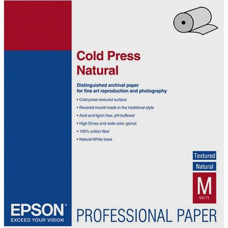 Epson Cold Press Natural Fine Art Textured Matte Cotton Rag Inkjet Paper mil gmRoll 76 - 397