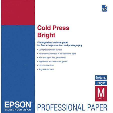 Epson Cold Press Bright Fine Art Textured Matte Cotton Rag Inkjet Paper mil gmSheets 54 - 616