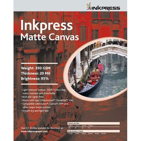 Inkpress Artists Waterproof Stretchable Canvas Bright Matte Inkjet Cloth mil gsmSheets 194 - 400