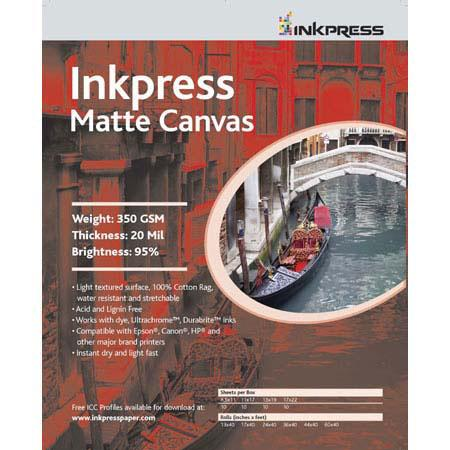 Inkpress Artists Waterproof Stretchable Canvas Bright Matte Inkjet Cloth mil gsmRoll 100 - 411