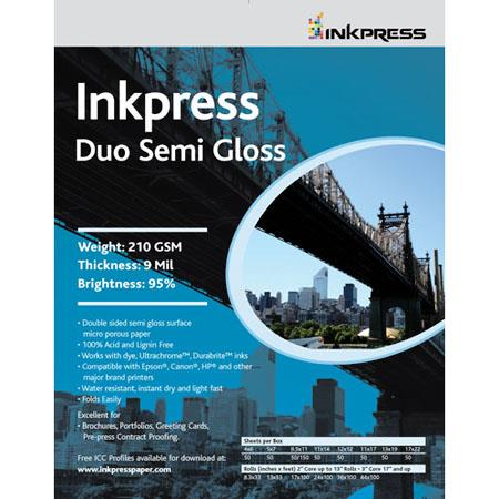 Inkpress Duo Semi Gloss Double Sided Luster Surface Inkjet Paper gsm milSheets 56 - 521