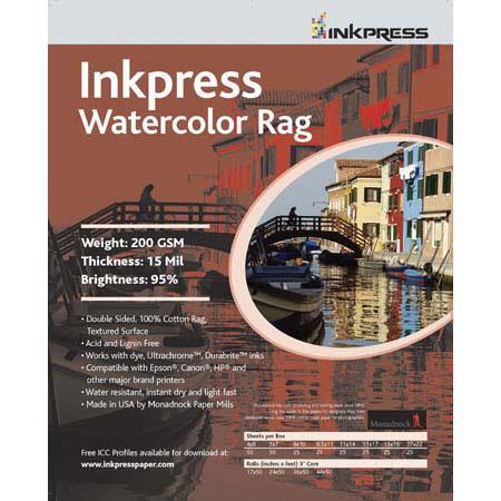 Inkpress Watercolor Texture Matte Archival Cotton Rag Inkjet Paper mil gsmRoll 98 - 338