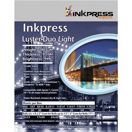 Inkpress Luster Duo Double SidedInkjet Paper Sheets mil Percent Bright gsm 25 - 517