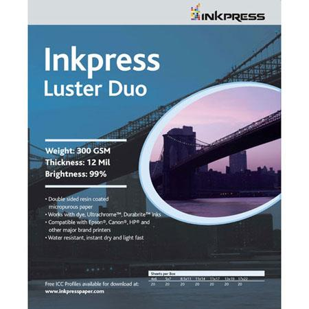 Inkpress Luster Duo Double Sided Bright Resin Coated Photograde Inkjet Paper mil gsmSheets 120 - 682