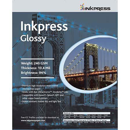 Inkpress Glossy Premium Single Sided Bright Resin Coated Photograde Inkjet Paper mil gsmSheets 70 - 672