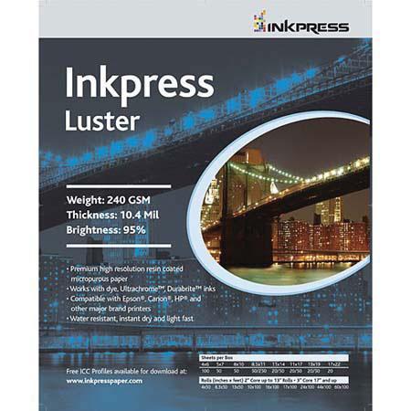 Inkpress Luster Premium Single Sided Bright Resin Coated Photograde Inkjet Paper mil gsmSheets 107 - 412