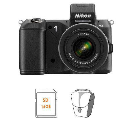 Nikon V Mirrorless Digital Camera Body Nikon VR Zoom Lens Bundle SanDisk GB SDHC Memory Card LowePro 273 - 506