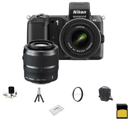 Nikon V Mirrorless Digital Camera Two Lens Zoom Kit Nikon and VR Zoom Lens Bundle SanDisk GB Extreme 41 - 304