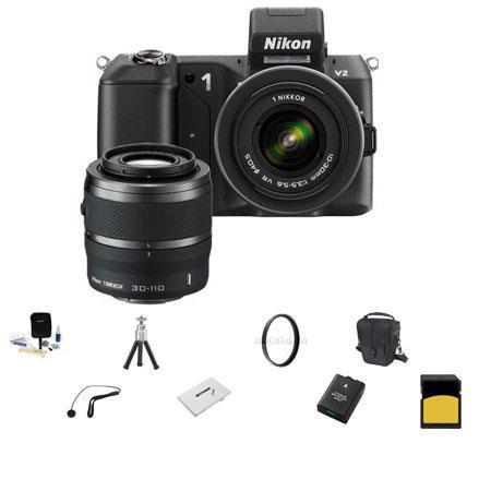 Nikon V Mirrorless Digital Camera Two Lens Zoom Kit Nikon VR And VR Zoom Lens Bundle SanDisk GB Extr 68 - 481