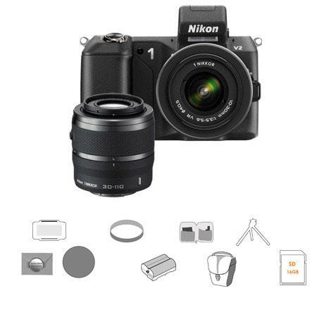 Nikon V Mirrorless Digital Camera Two Lens Zoom Kit Nikon and VR Zoom Lens Bundle New Leaf YearDrops 97 - 432