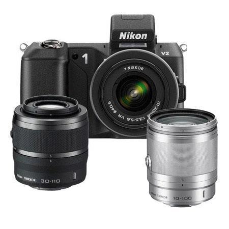 Nikon V Mirrorless Digital Camera VR VR Lens Bundle Nikon f VR Lens Silver Camera Bag and Filter Kit 73 - 226
