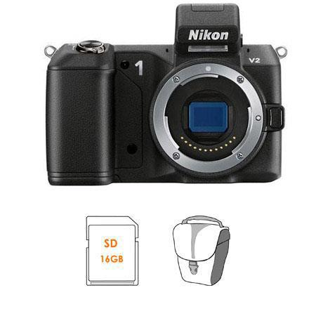 Nikon V Mirrorless Digital Camera Body Bundle SanDisk GB Extreme SDHC Memory Card Lowepro Rezo TLZ H 37 - 147
