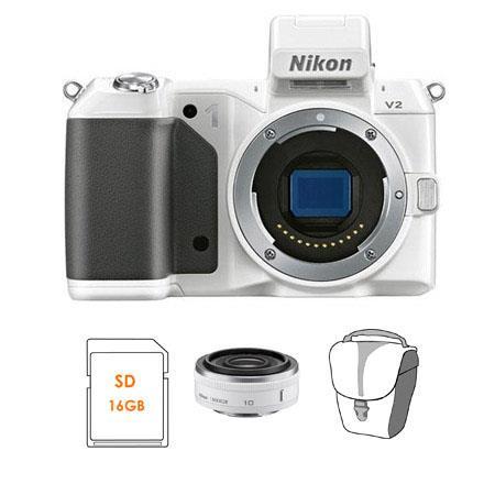 Nikon V Mirrorless Digital Camera Body Bundle Nikon Nikkor f Lens White SanDisk GB Extreme SDHC Memo 190 - 704