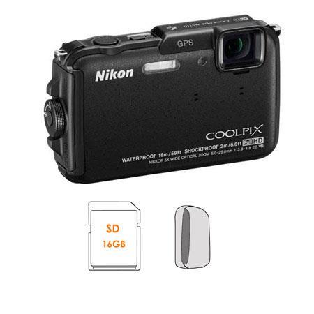 Nikon CoolpiAW Digital Camera Bundle GB SDHC Memory Card Camera Case 62 - 684