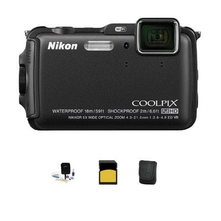 Nikon CoolpiAW Digital Camera MPOptical Zoom Bundle GB class SDHC Card Camera Case Cleaning Kit 274 - 221
