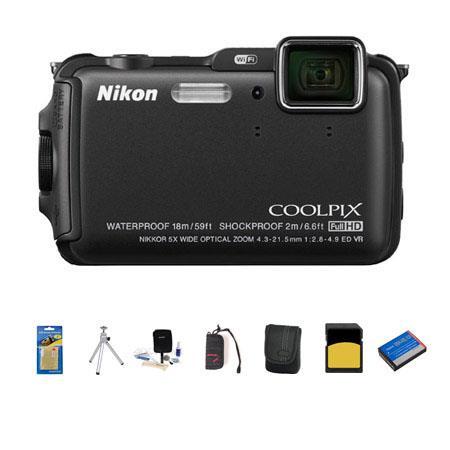 Nikon CoolpiAW Digital Camera MPOptical Zoom Bundle GB class SDHC Card Camera Case Spare Battery Cle 91 - 175