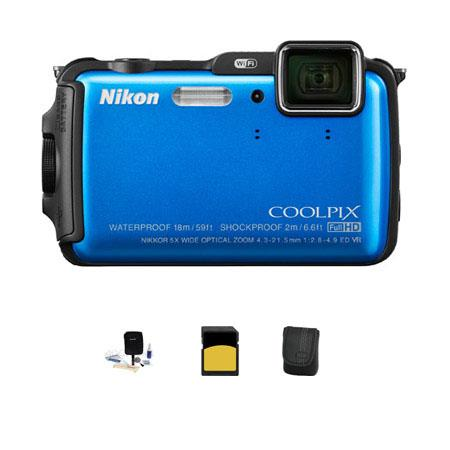 Nikon CoolpiAW Digital Camera MPOptical Zoom Blue Bundle GB class SDHC Card Camera Case Cleaning Kit 129 - 100