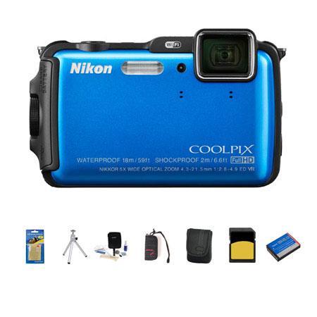 Nikon CoolpiAW Digital Camera MPOptical Zoom Blue Bundle GB class SDHC Card Camera Case Spare Batter 91 - 175