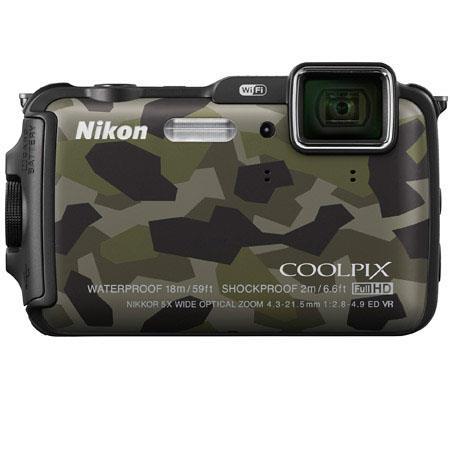 Nikon CoolpiAW Digital Camera MPOptical Zoom OLED Display HDMIUSB Wi Fi GPS Electronic Compass Water 118 - 505