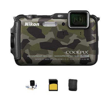 Nikon CoolpiAW Digital Camera MPOptical Zoom Camouflage Bundle GB class SDHC Card Camera Case Cleani 118 - 505