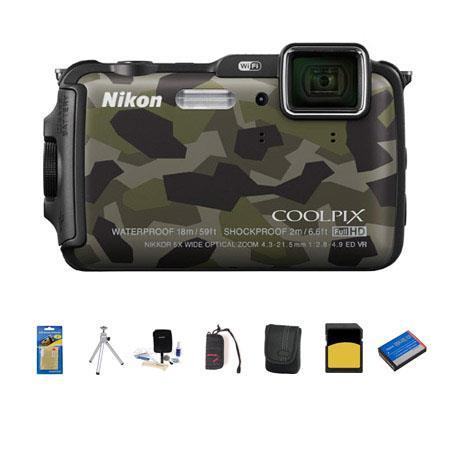 Nikon CoolpiAW Digital Camera MPOptical Zoom Camouflage Bundle GB class SDHC Card Camera Case Spare  91 - 175